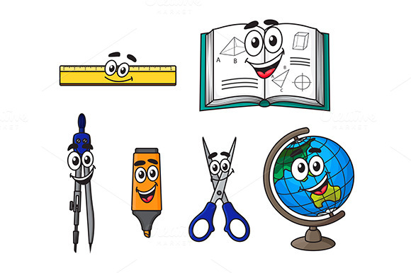Happy Cartoon School Supplies