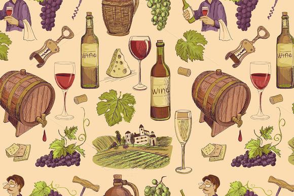 Wine Vintage Hand Drawn Sketch