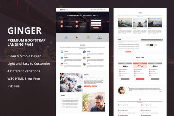 GINGER Premium Html Landing Page