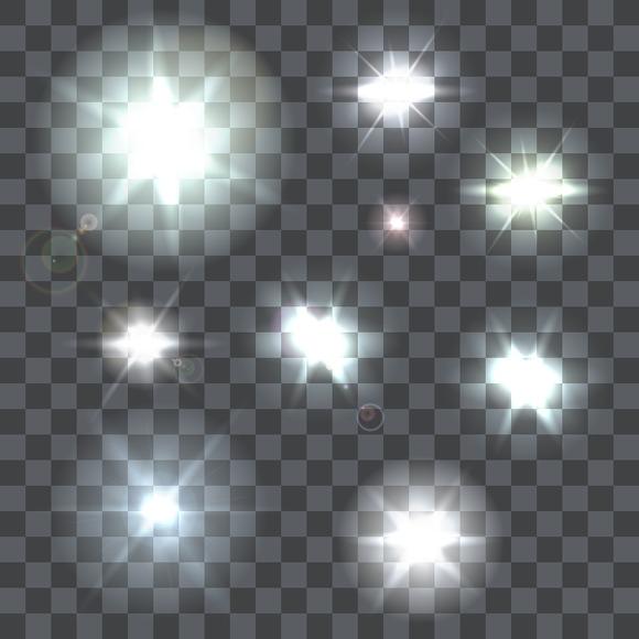 Set Of Nine Vector Lens Flares Beams