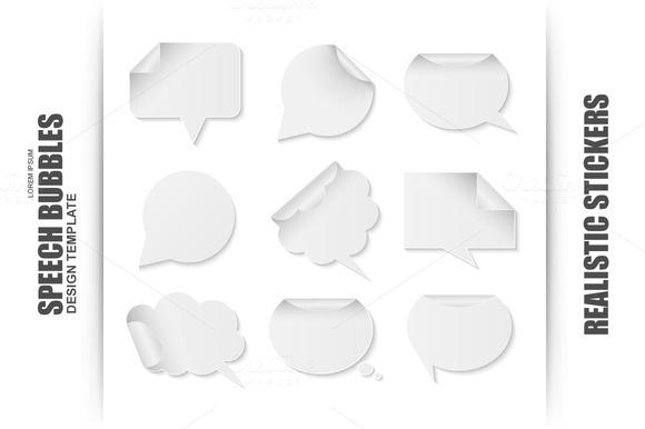 Blank White Paper Speech Bubbles