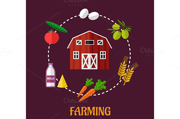 Farming Infographic Showing Various