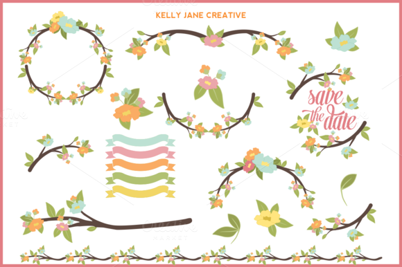 Pastel Branches Flowers Set 1