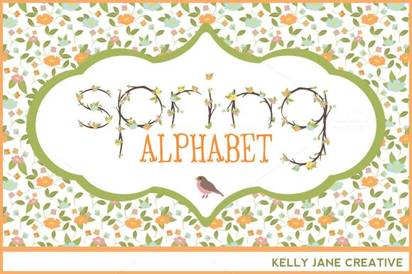 Pastel Flowering Branches Alphabet