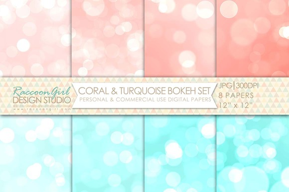Coral Turquoise Bokeh Papers