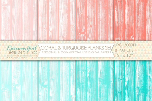 Coral Turquoise Wood Plank Papers