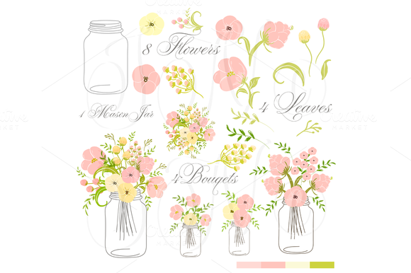 Hand Drawn Mason Jars Card Template