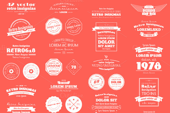 42 Vector Retro Insignias Banners