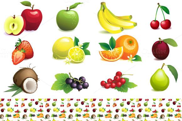 Fruit Set Seamless Fruit Pattern