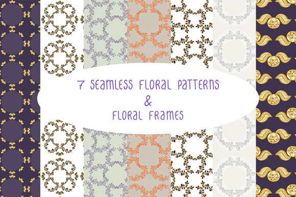 Floral Seamless Patterns Frames 1