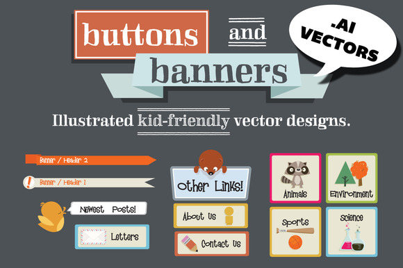 Hand Drawn Vector Buttons Banners
