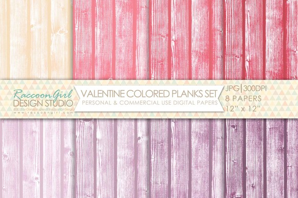 Valentine Colored Planks Papers