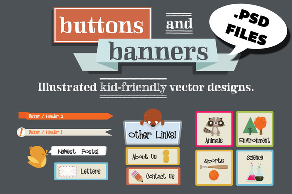 Hand Drawn PSD Buttons Banners