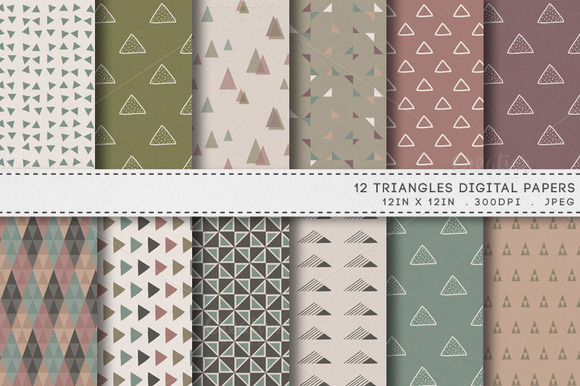12 Triangles Retro Digital Papers
