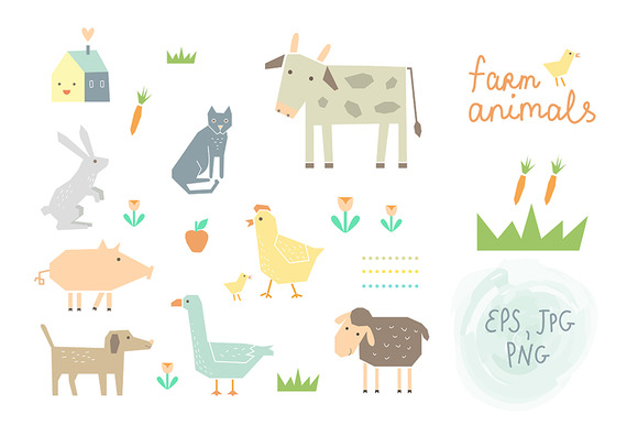 Farm Animals Clipart Vector