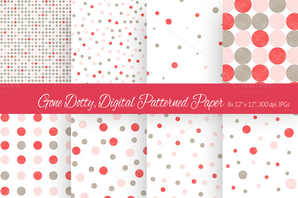 Gone Dotty Pink Red Digital Paper