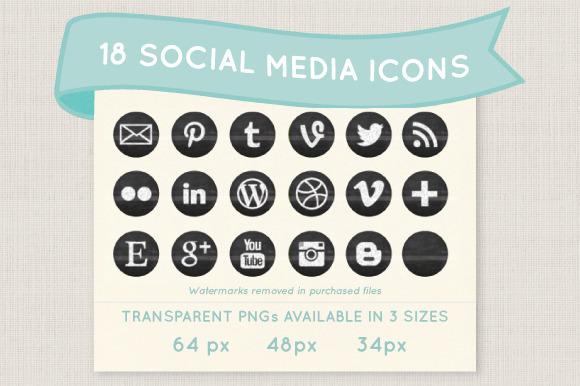 Chalkboard Social Media Icon Set