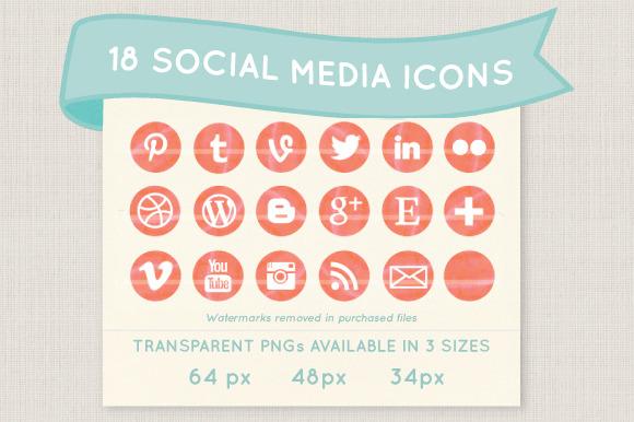 Coral Watercolor Social Media Icons