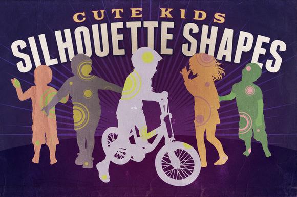 Silhouette Shapes Cute Kids