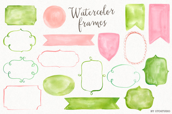 Watercolor Frames Ribbons