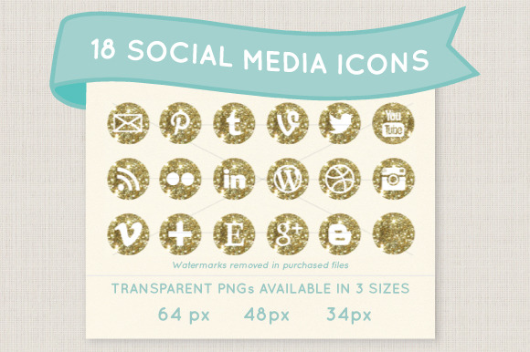 Sparkly Gold Social Media Icon Set