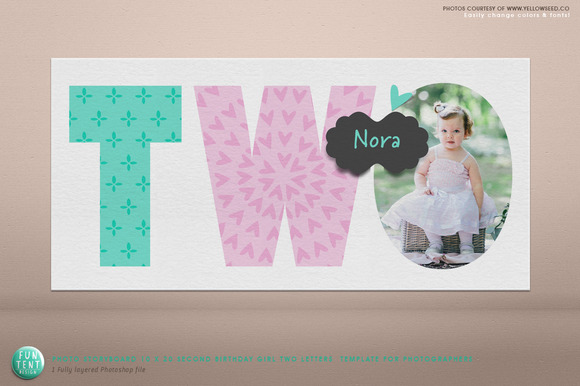 Photoboard 10x20 Birthday Two Girl