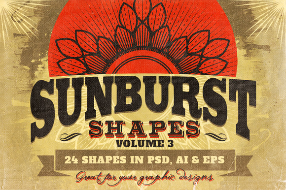 Sunbursts Shapes Vol.3