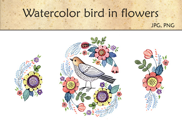 Watercolor Bird In Flowers