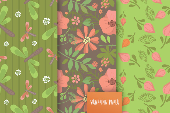 Spring Floral Seamless Patterns