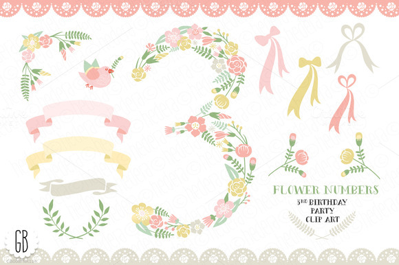 Floral Number 3rd Birthday Clip Art