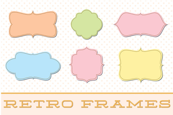 Retro Label Frames Brushes Set No 28