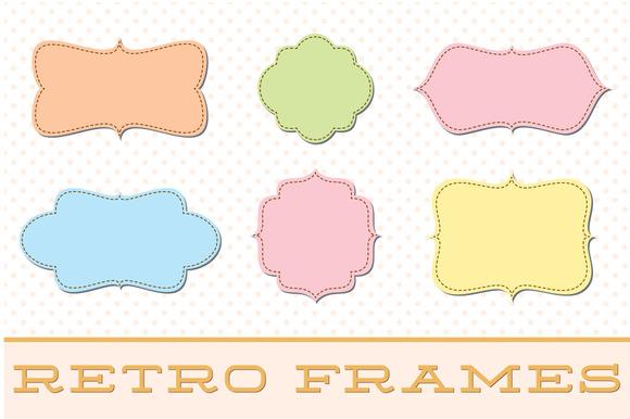 Retro Label Frames Vectors Set No 28