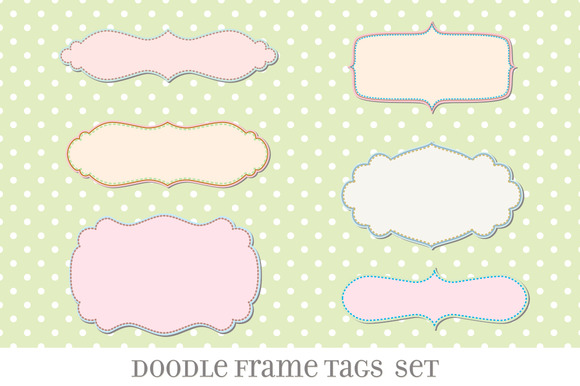 Retro Label Frames Brushes Set No 27