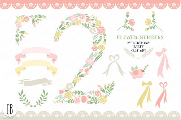 Floral Number 2nd Birthday Clip Art