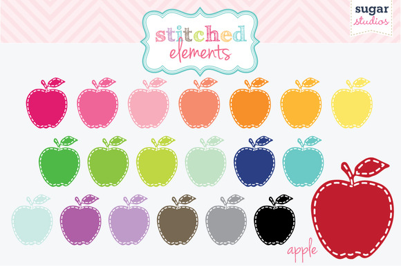 Stitched Apple Digital Clipart Set