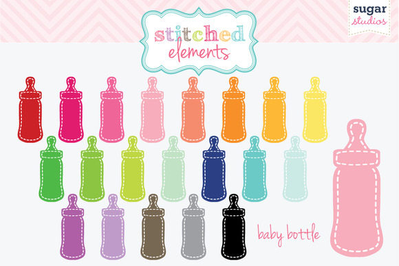 Stitched Baby Bottle Digital Clipart