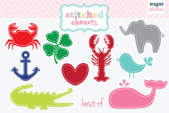 Best Of Stitched Elements Clipart Se