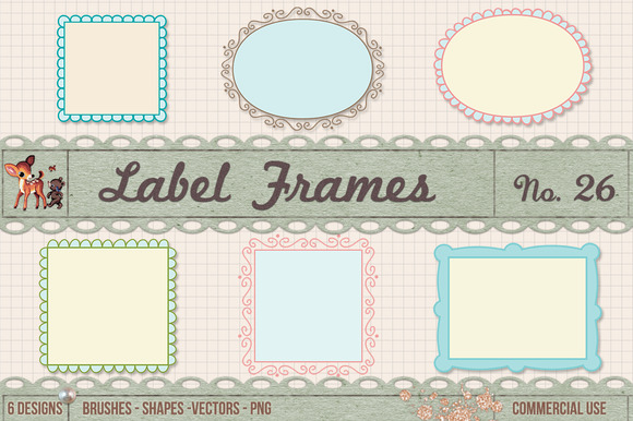 Retro Label Frames Brushes Set No 26