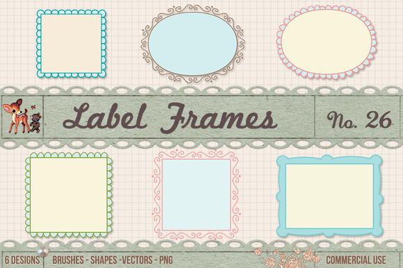 Retro Label Frames Vectors Set No 26