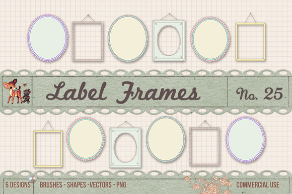 Retro Label Frames Brushes Set No 25