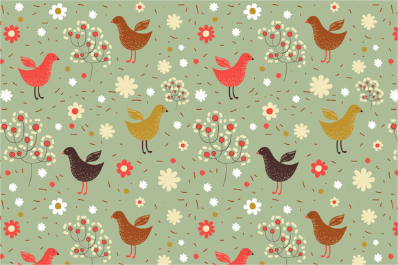 Seamless Patten Spring Birds