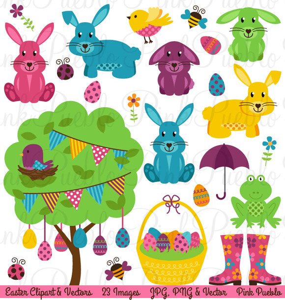Easter Clipart Vectors Eggs Bunny