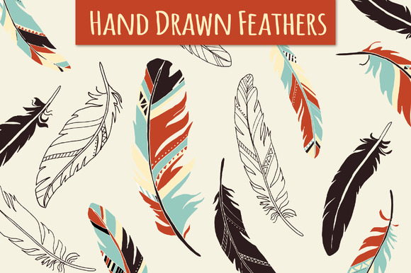 Feather Elements Hand Drawn