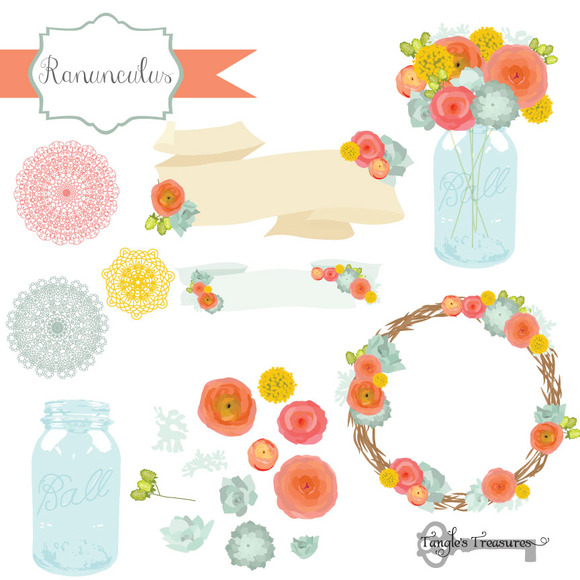 Ranunculus Flower Clipart Vectors