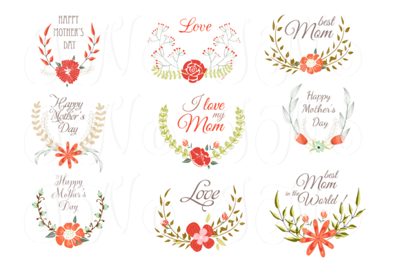Hand Drawn Floral Wreath For Mather