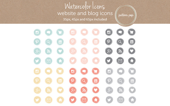 12 Watercolor Icons In 6 Colors