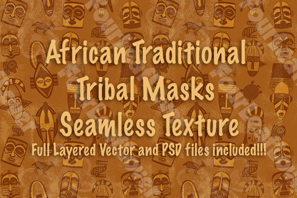 African Tribal Mask Vector Pattern