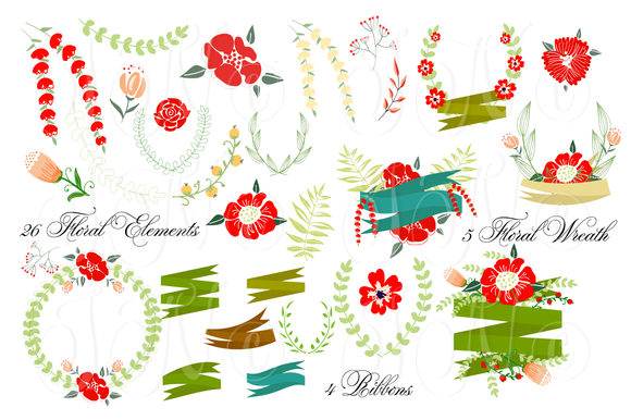 36 Unique Wedding Floral Clipart