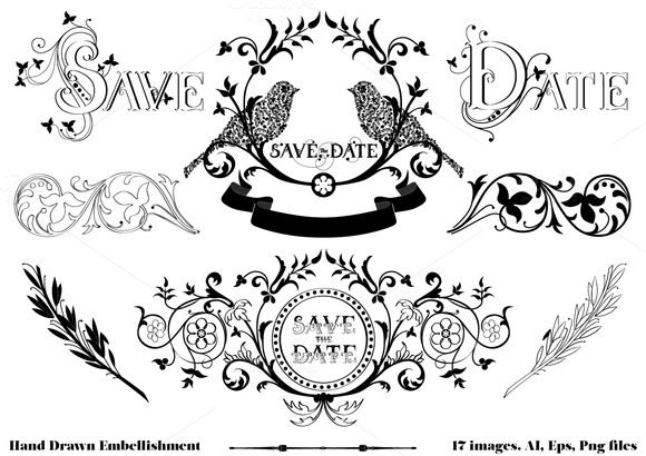 Hand Drawn Embellishment Vector Set