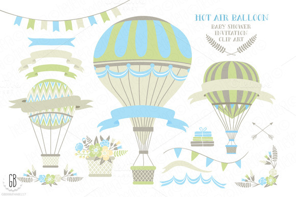 Hot Air Balloon Baby Shower Invite